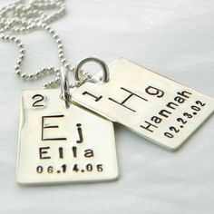 Personalized Periodic Table Element hand stamped sterling silver necklace. $50.00, via Etsy.