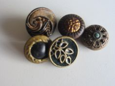 Vintage Buttons - Collector molded metal, pressed and molded, Victorian lot of 5 designs, very old (lot mar350) by pillowtalkswf on Etsy https://www.etsy.com/listing/225849251/vintage-buttons-collector-molded-metal