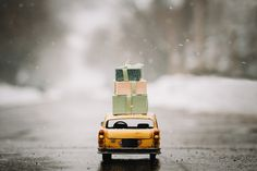 Cab carrying presents during Christmas season - NY cab transporting boxes gifts. Christmas season.