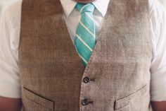 striped teal tie for a punch of color on the Groom  Photography By / bryanruppphotography.com