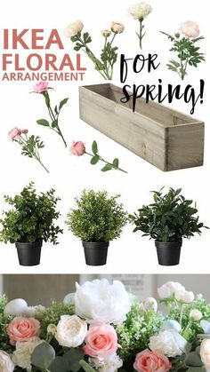 """I've had so many people ask about the IKEA floral arrangement I did for Spring! The first question on everyone's mind: """"wait, those flowers are all from IKEA???"""" Answer: …yup! This post contains affiliate links for your convenience. Supplies I started with a white, barnwood box that I had created out of 2×4's. You can find a similar ones here: Wood Planter Box 3 IKEA FEJKA faux boxwood plants. If"""