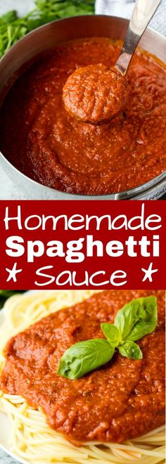 Homemade Spaghetti Sauce Homemade Spaghetti Sauce is so full of flavor and it's easy to make it in large batches for freezing or canning for easy homemade meals that are prepared ahead. Sauce Recipes, Pasta Recipes, Dinner Recipes, Cooking Recipes, Spaghetti Recipes, Italian Dishes, Italian Recipes, Tomate San Marzano, Homemade Sauce
