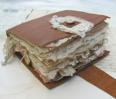 Tea-Dyed Leather and Lace Journal