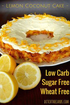 An easy recipe for low carb lemon coconut cake that is sugar free, wheat free and gluten free. Ice with my yoghurt, cream cheese and lemon frosting.