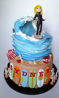 Surfer Girl Cake Modeled After The 8 Year Old Surfer Herself Black Wetsuit And Surfboard Colors Match Her Own Wave Made From A Combina