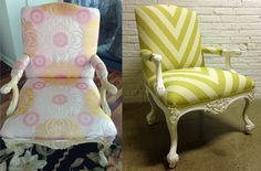 Rebuilt, Refinished and Reupholstered beautiful chair, fabric by Schumacher