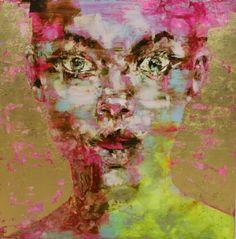oil plus gold leaf Gold Leaf Art, Portraits, Portrait Paintings, Unique Trees, Abstract Faces, Collage, Italian Artist, Female Portrait, Figurative Art