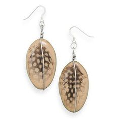 Earrings with Feather Design Wood Bead