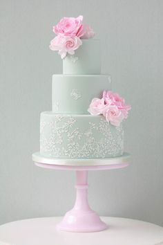 Pretty pink roses and butterfly garden lace cake - Zoe Clark Cakes