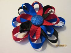 Red Black Blue Pinwheel Loopy Hair Bow Toddler by preciouscurls,