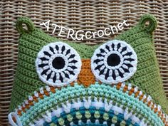 LOVELY COLORFUL LARGE CROCHET OWL CUSHION!!!! For this owl cushion I have used yarn in six lovely matching colors in different blends like,
