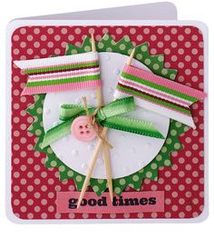 Card idea from @Julie Kirk – wrap ribbon around cocktail sticks to make mini flags! From Papercraft inspirations, April 2014.