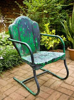 love these old metal garden chairs, especially if they are rusty.