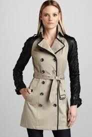 bcbg navy wool coat black leather arms - Google Search