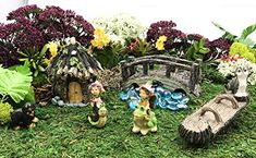 cat fence topper - Fairy Garden Miniature Kit | 8 piece set | Mini Cat, Mini Teeter-Totter Log, Mini Puppy, Mini Fairy-Frog, Mini Fairy-Snail, Mini Wood Bridge, Ice blue gems Mini Puppies, Cat Fence, Wood Bridge, Miniature Fairy Gardens, Outdoor Gardens, Cats, Painting, Gatos, Kitty Cats