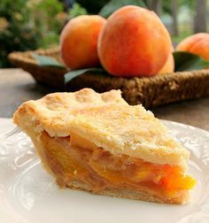 The Perfect Peach Pie...The flavor of the fresh peaches is up front and delicious, the pie isn't overly sweet which allows the peach flavor and natural sweetness to come shining through. This is indeed The Perfect Peach Pie!