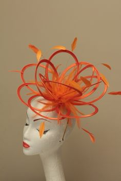 Orange Feather Fascinator Hat Headband Or Comb Ready Made Ascot Wedding Race Ebay