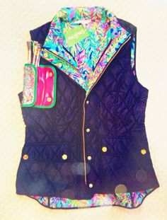 """the-glitzy-graduate: """"Eeeee! My perfect lilly vest for fall! Plus I got this free goodie of makeup brushes in an adorable little case! """""""