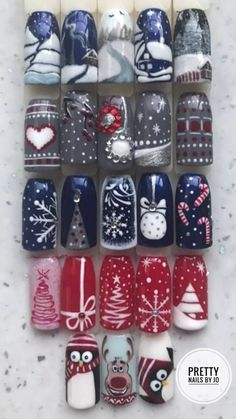 Ideas Christmas Nails Design Silver For 2020 Chistmas Nails, Christmas Nails 2019, Xmas Nail Art, Xmas Nails, Christmas Nail Art Designs, Holiday Nails, Fun Nails, Pretty Nails, Pretty Nail Designs
