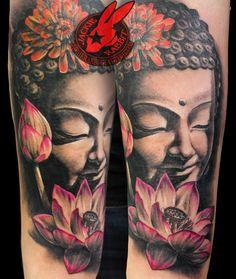 Buddha Lotus Pink Statue Face Portrait 3D Realistic Tattoo by Jackie Rabbit Custom Tattoo by Jackie Rabbit @ Eye of Jade Tattoo 6165 Skyway, Paradise, CA (530) 343-5233 www.jackierabbittattoo.com