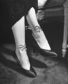 Sequined stockings with bows, 1949