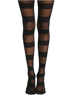 Sheer or opaque? Get 'em both! // /Blackheart Wide Black Stripe Tights