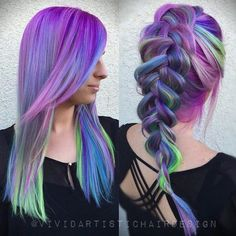 Amazing purple hair color with blue & green highlight~ try it with 613A DIY dye hair extensions and keep it longer