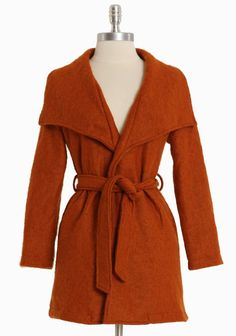 """Orchard Hill Waist Tie Jacket 59.99 at shopruche.com. This deep orange jacket features a chic asymmetrical collar, pockets on each side, and a waist tie.  Shell: 60% Acrylic, 40% Wool Lining: 100% Polyester Imported 30"""" length from top of shoulder"""