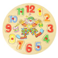 New 3D  Wooden Blocks Toys Children's Educational Toy With Cartoon Pattern Digital Geometry Clock Baby Boy Girl Gift