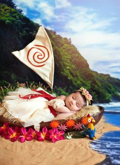 baby dressed as Moana