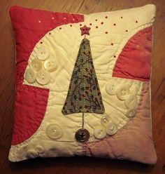 Primitive Small Folk Art Fabric Art Christmas Tree Pillow Quilted   eBay