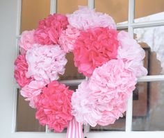 NINE + SIXTEEN: Paper Flower Wreath ~ Tutorial..... love this... if only i were crafty. :)