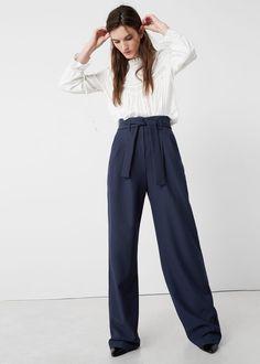 Pantalón algodón cinturón  | MANGO
