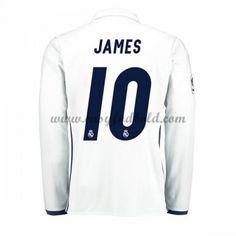 Fodboldtrøjer La Liga Real Madrid 2016-17 James 10 Hjemmetrøje Langærmede