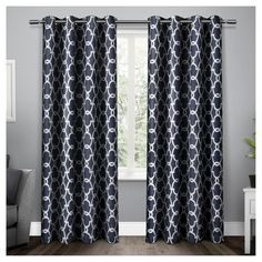 """Set Of 2 / Pair Gates Blackout Thermal Grommet Top Window Curtain Panels Blue (52""""X84"""") Exclusive Home"""