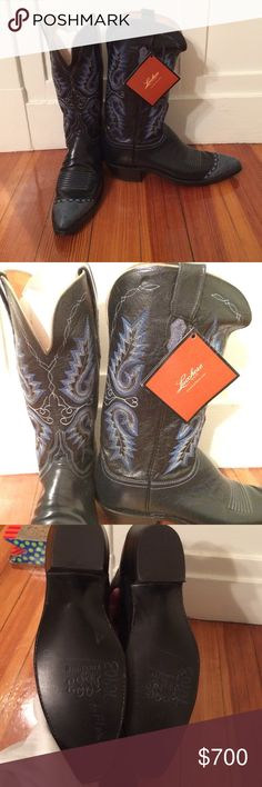 Lucchese dress western boots Lucchese dress western boots. Size 9B. Deep blue leather with ostrich toe detail. Blue, light blue and white stitching detail on calf of boots. Has tag still attached. Never been worn. No wear on the soles. Faint chalk marking on soles from when they were taken to w professional shoe place for calf stretching. Sadly still too tight. No box, but each boot had a protective plastic bag. Shoes Heeled Boots