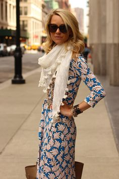 Pretty patterned wrap dress and airy summer scarf. Street style