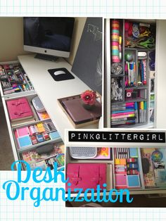 Organized Office Space ---- The drawers in this desk look so clean! Spending just a few minutes finding a place for everything can make a huge difference. ---- Get organized with sparkle! Whiteboards are boring, but glitter dry erase boards from GlittErasables are unique and fun! Find one that shows your personality on our Etsy store: https://www.etsy.com/shop/GlittErasable