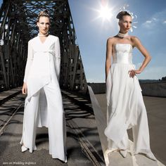 the one on the left. just enough pant suit. just enough dress. definitely not in white!