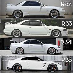 Which one is your favorite GTR? #skyline #gtr #jdm #nissan #instalike #turbo #r32 #import #instagood #tuned #r34 #godzilla #r33 #r35