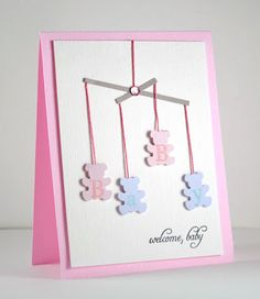 Baby girl card. Can change colors to make for a boy or gender neutral.