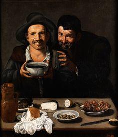ZWEI BÄUERLICHE MÄNNER VOR EINEM TISCH MIT ARRANGIERTEN SPEISEN Öl auf Leinwand. 101 x 86 cm. Der Maler lebte bereits seit 1618 in Madrid und studierte...