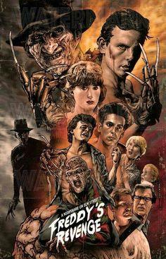 Nightmare on elm Street 2 Freddy's Revenge horror movie poster Horror Movie Characters, Horror Movie Posters, Movie Poster Art, Horror Villains, Freddy Krueger, Robert Englund, Classic Horror Movies, Iconic Movies, Amazing Movies