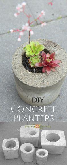 Mini DIY Backyard Concrete Planters