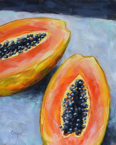 Still life painting by Cat Pope on Etsy, Kitchen art, melon papaya oil painting, fruit
