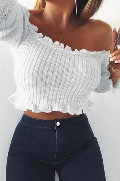 25fd8bc6baf 11 Best Bardot crop top images in 2019 | Fashion clothes, Casual ...
