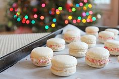 Try your hand at macarons this Christmas! Peppermint filling or eggnog filling, this Christmas macarons recipe is festive and delicious. Macaron Cookies, Macaroons, Christmas Macaron Recipe, Macarons Christmas, Christmas Cookies, Mini Candy Canes, Christmas Dinner Menu, Thing 1, Gluten Free Baking