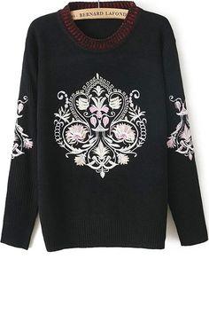 Fireside Retro Embroidered Sweater - OASAP.com