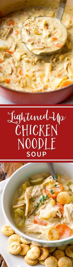 This lightened-up creamy chicken noodle soup has only 200 calories per serving! Recipe on sallysbakingaddiction.com