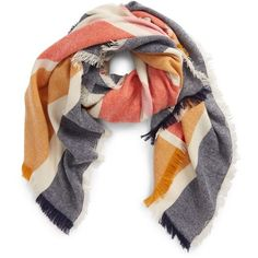 Women's Madewell Stripe Blanket Scarf (3.205 RUB) ❤ liked on Polyvore featuring accessories, scarves, multi stripe, madewell, striped scarves, striped shawl, madewell scarves and blanket scarf